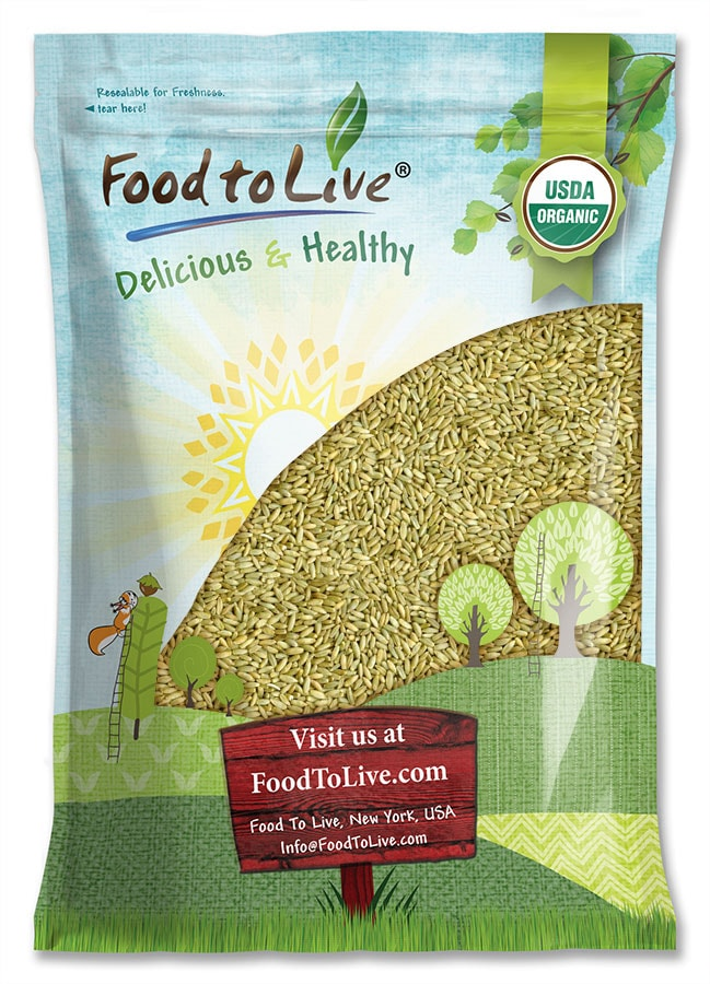 Organic Rye Berries by Food to Live (Whole Wheat Grain, Non-GMO, Raw, Bulk Seeds, Product of the USA) — 20 Pounds