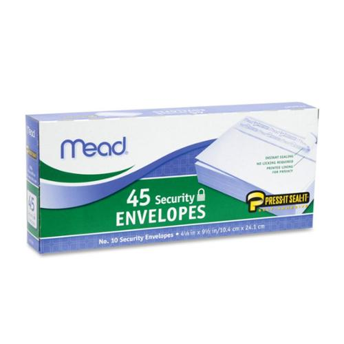 """Mead No.10 Security Envelopes 4.125"""" x 9.5"""", White 45 ea (Pack of 2)"""