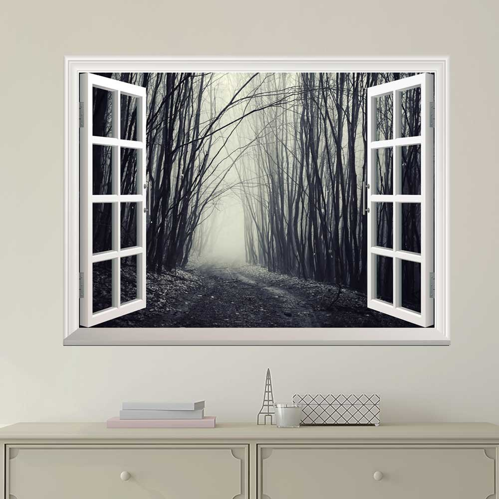 wall26 Modern White Window Looking Out Into a Dark Foggy Branch Forest - Wall Mural, Removable Sticker, Home Decor - 24x32 inches