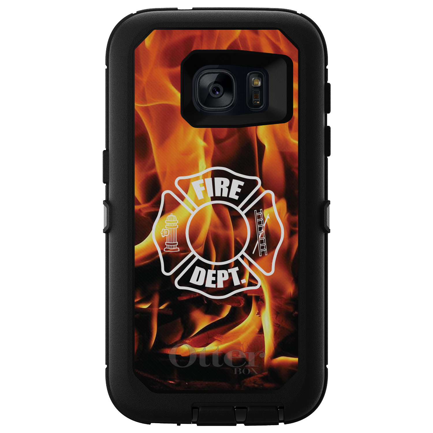 DistinctInk™ Custom Black OtterBox Defender Series Case for Samsung Galaxy S7 - Flames Fire Department
