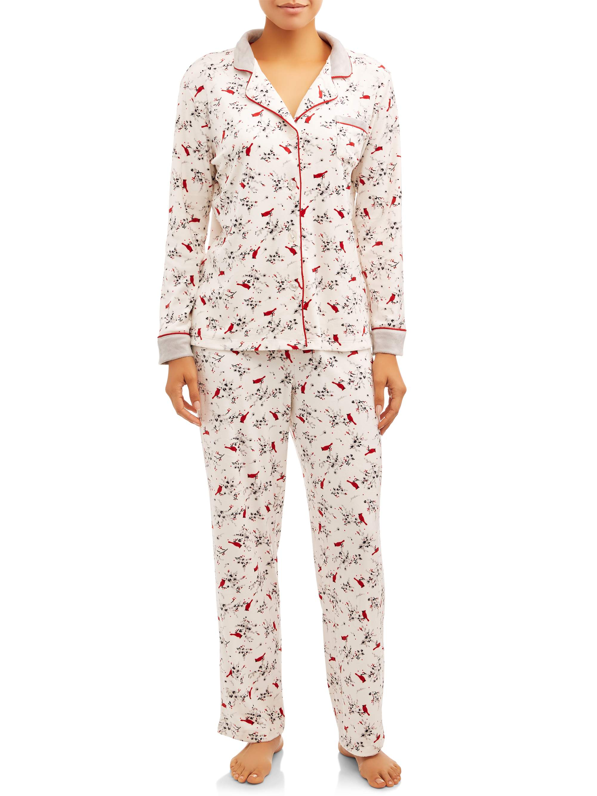 Charter Club Womens Button Down Flannel Pajama Set Rose Garden Floral
