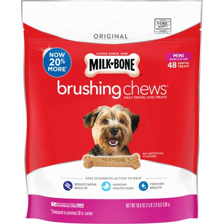 Milk-Bone Brushing Chews Daily Dental Dog Treats, Mini, 18.9 Ounces, 48 Bones Per (Milk Bone Brushing Chews Bad For Dogs)
