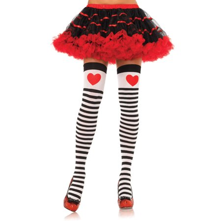 Striped Thigh Highs with Red Hearts LA6008 (Heart Thigh Highs)