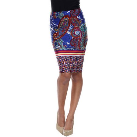 White Mark Women's Women's Paisley Printed Pencil Skirt