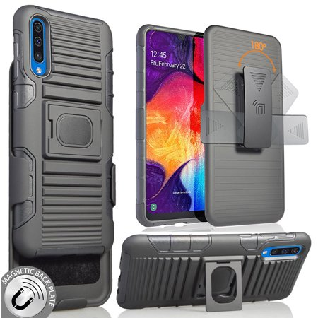 Galaxy A50 Case with Clip, Nakedcellphone Black Rugged Ring Grip Cover + Belt Hip Holster Stand [with Built-In Mounting Plate] for Samsung Galaxy A50 (2019)