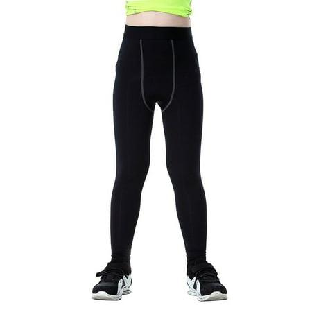 Kids Boy Compression Base Layer Stretch Sports Running Workout Leggings
