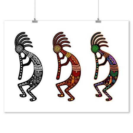 Kokopelli - Tribal Theme - Lantern Press Artwork (9x12 Art Print, Wall Decor Travel