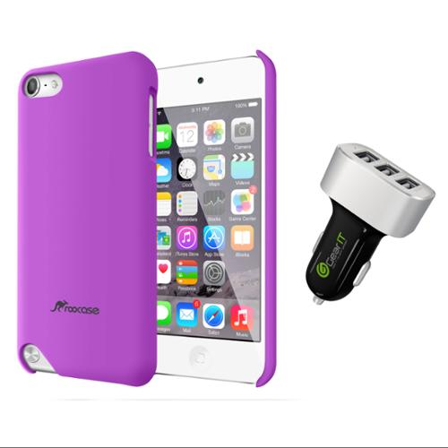 iPod Touch 5 Case Bundle (Case + Charger), roocase iPod Touch 5 Ultra Slim Matte Hard Shell Case Cover with Black 5.2A Car Charger for Apple iPod Touch 5 (5th Generation), Purple