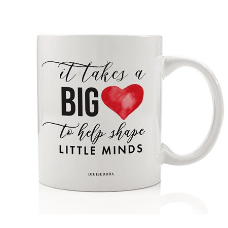Teacher Mug It Takes A Big Heart To Shape Little Minds Gift Idea for Day Care Preschool Elementary School Guidance Counselor Christmas Birthday Present 11oz Ceramic Coffee Tea Cup Digibuddha DM0737](Halloween Teacher Gift Ideas)