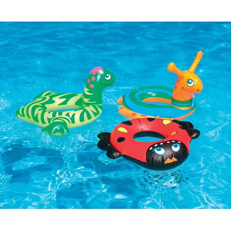 Inflatable Red and Black Ladybug Swim Ring Tube Pool Float, 24-Inch (Red Tube Brille)