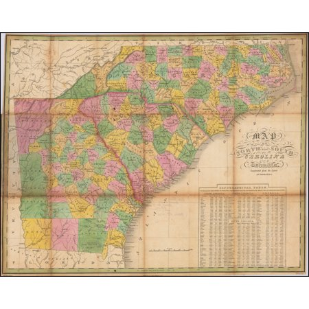 LAMINATED POSTER Map of North and South Carolina and Georgia Constructed from the Latest Authorities [Pocket Map] POSTER PRINT 24 x