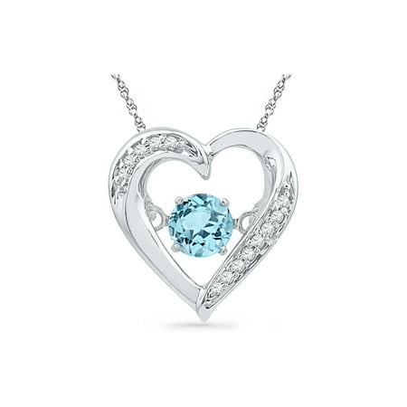 Lab Square Pendant (Lab Created Blue Topaz Moving Gem Heart Pendant Necklace 1/3 Carat (ctw) in Sterling Silver)