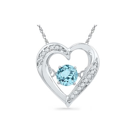 Lab Created Blue Topaz Moving Gem Heart Pendant Necklace 1/3 Carat (ctw) in Sterling Silver