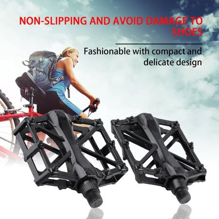 Pair Aluminum Alloy Flat Platform Bicycle Cycling Riding Pedals Treadle - image 5 of 8