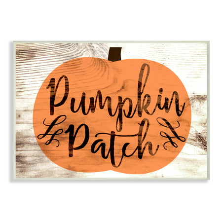 The Stupell Home Decor Collection Pumpkin Patch Halloween Typography Wall Plaque Art, 10 x 0.5 x 15 (Pumpkin Art)