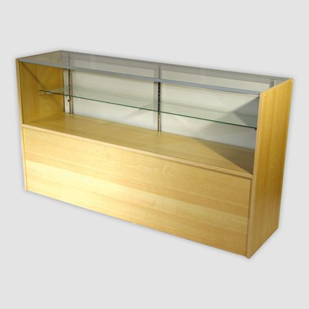 - RETAIL GLASS DISPLAY CASE HALF VISION MAPLE 4' SHOWCASE