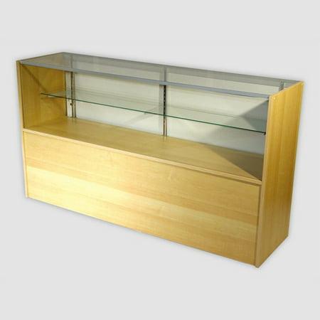 RETAIL GLASS DISPLAY CASE HALF VISION MAPLE 4' SHOWCASE