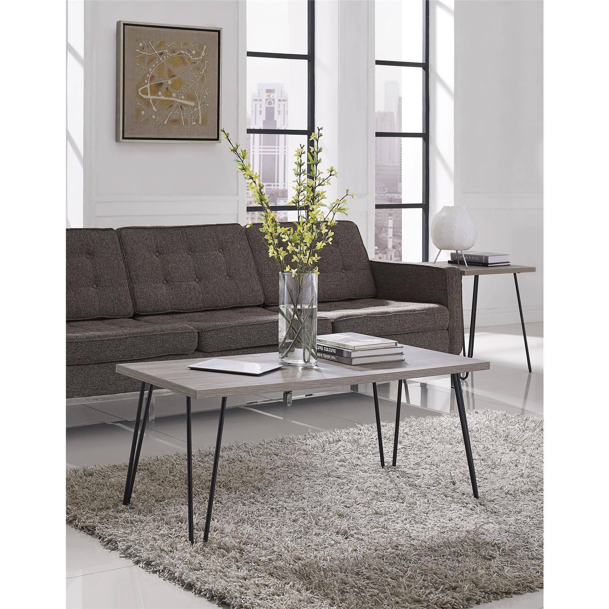 Ameriwood Home Owen Retro Coffee Table, Distressed Gray Oak/Gunmetal Gray
