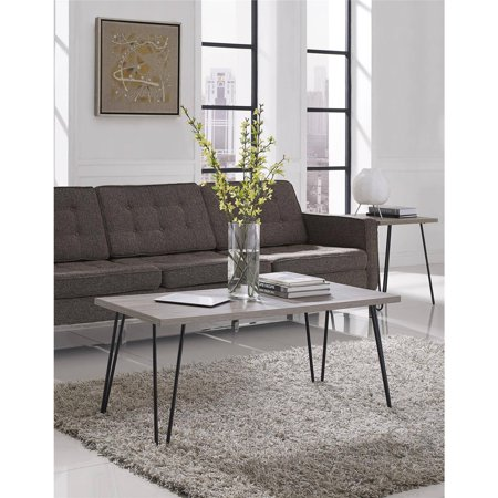 Ameriwood Home Owen Retro Coffee Table, Distressed Gray Oak/Gunmetal Gray