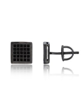 Sterling Silver Black Pave 7.5mm Flat Square Black CZ Screw Back Stud Earring
