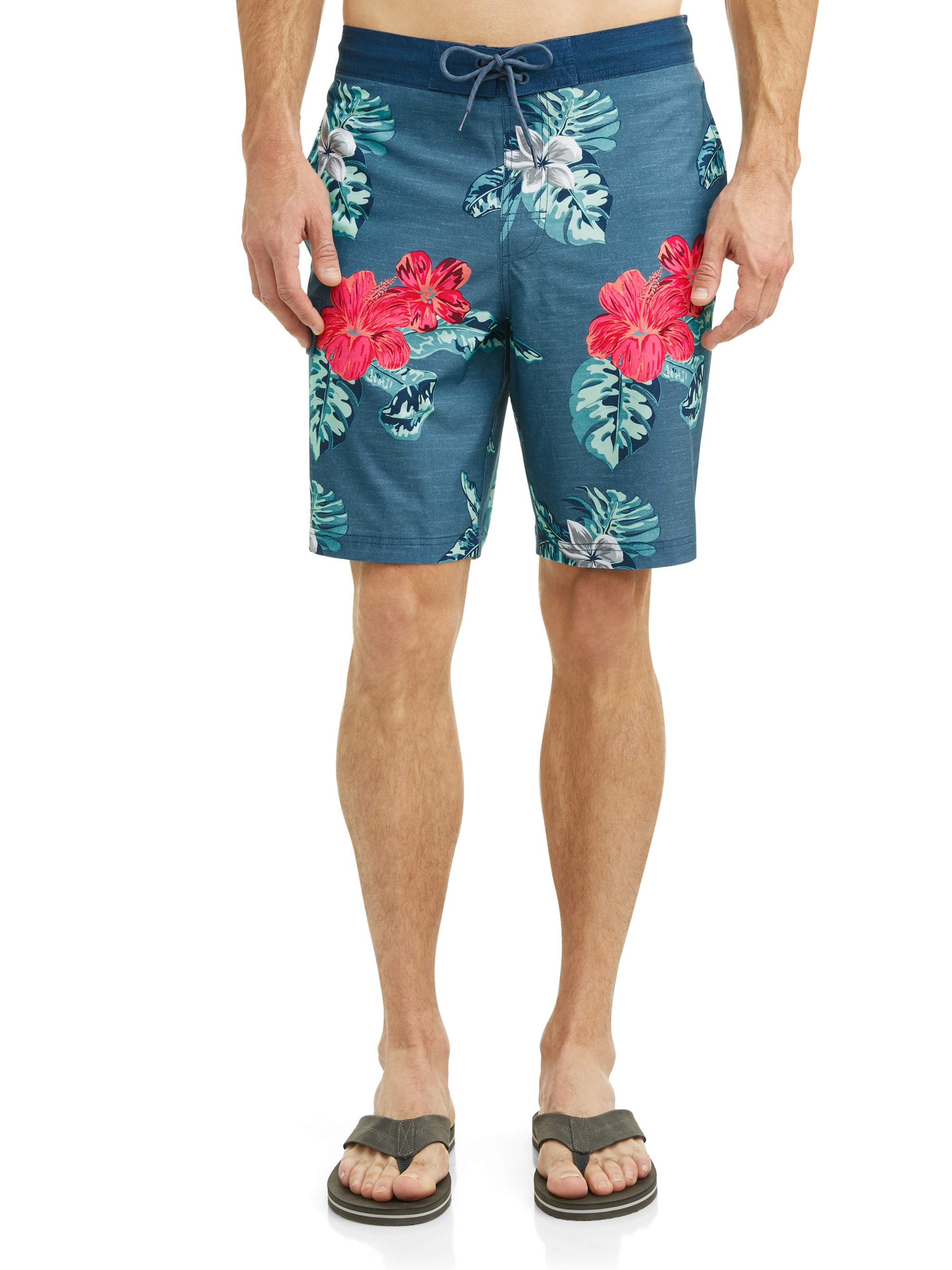 George Men's Hibiscus 9-Inch E-board Swim Short, up to size 5XL