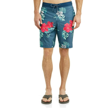 George Men's Hibiscus 9-Inch E-board Swim Short, up to size