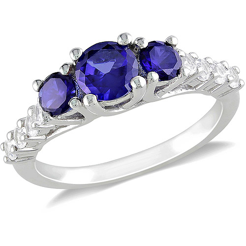 1-1/3 CT TGW Created Sapphire and Created White Sapphire Fashion Ring in Sterling Silver
