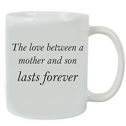 CustomGiftsNow The love between a Mother and Son lasts forever 11 oz White Ceramic Coffee Mug with FREE Gift Box - Gift for Father's Day, Christmas for Mom, Grandma, Mother, Grandmother (Black)