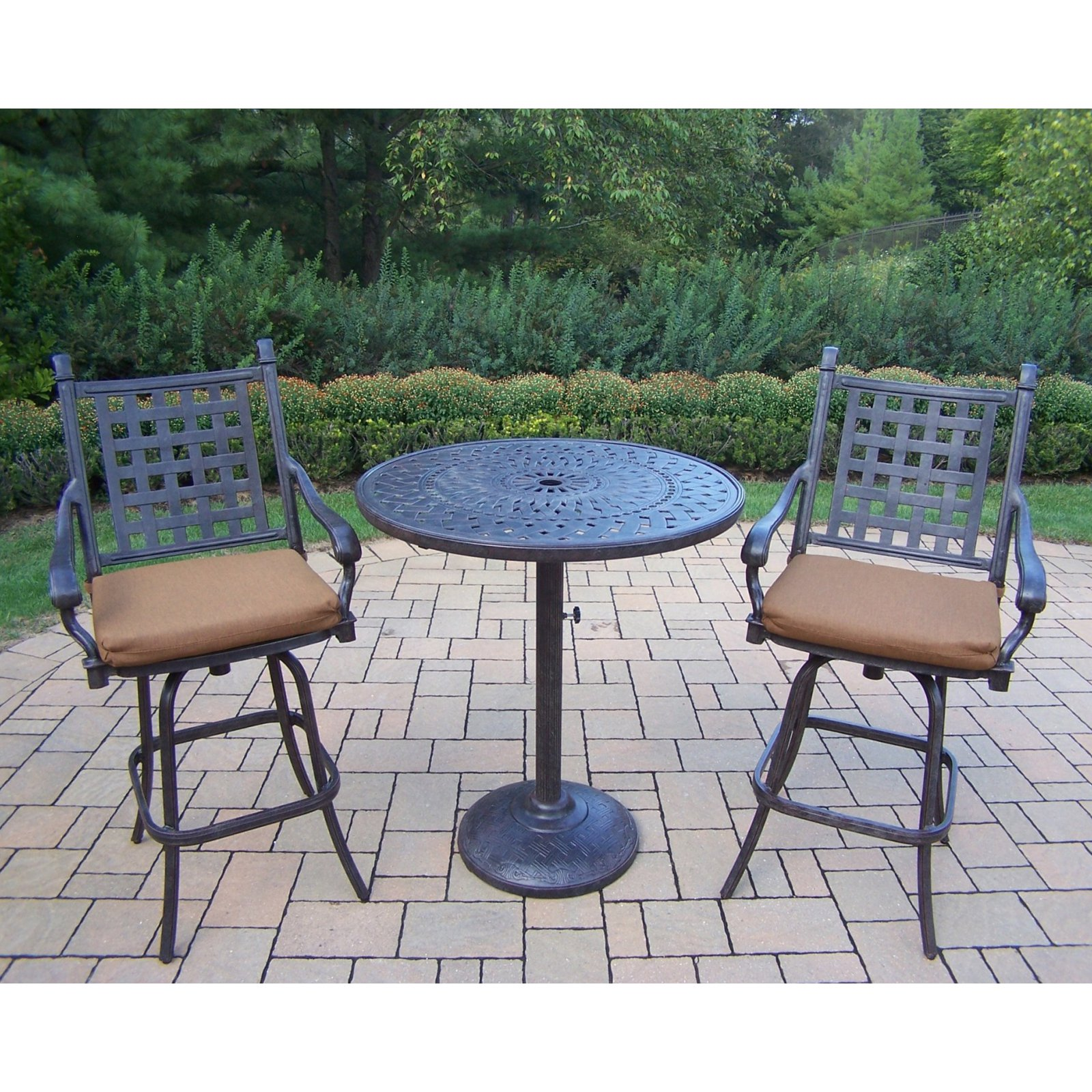 Oakland Living Belmont 36 in. Round Bar Height Patio Bistro Set