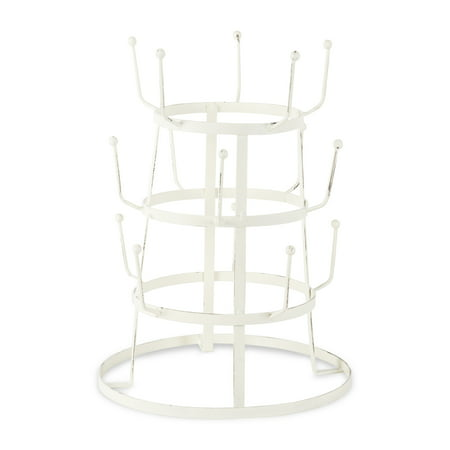- Home Traditions 3 Tier Countertop or Pantry Distressed Vintage Metal Wire Tree Stand for Coffee Mugs, Glasses, and Cups, 15 Mug Capacity, Antique White