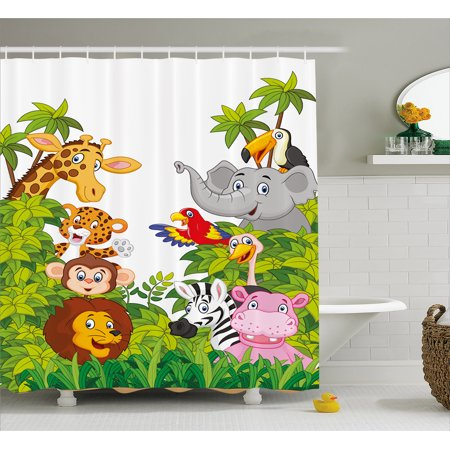 - Nursery Shower Curtain, Cartoon Style Zoo Animals Safari Jungle Mascots Tropical Forest Wildlife Pattern, Fabric Bathroom Set with Hooks, Multicolor, by Ambesonne