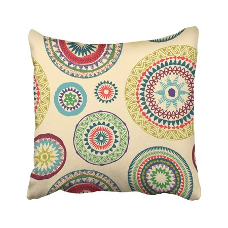RYLABLUE Watercolor Mandala Abstract Round Pattern Circle Tribal Meditation Flower African Mexican Pillowcase Throw Pillow Cover 18x18 inches - image 1 of 1