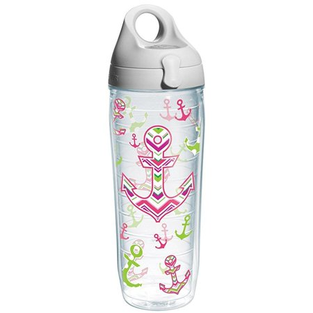 Tervis Nautical Anchor Away Wrap Water Bottle with Grey Lid, 24-Ounce, On The Water