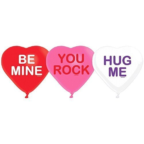 """Candy Hearts 6 ct 12"""" Latex Balloons Party Valentine's Day Anniversary"""