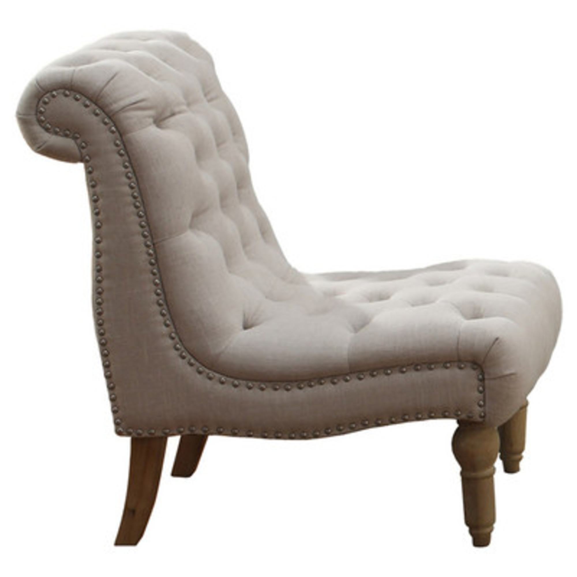Emerald Home Hutton II Off White Armless Accent Chair with Button Tufting, Nailhead Trim, And Turned Legs