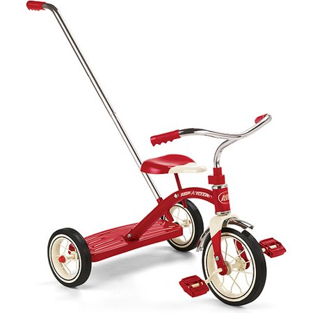 "Radio Flyer, Classic Red Tricycle with Push Handle, 10"" Front Wheel, Red"