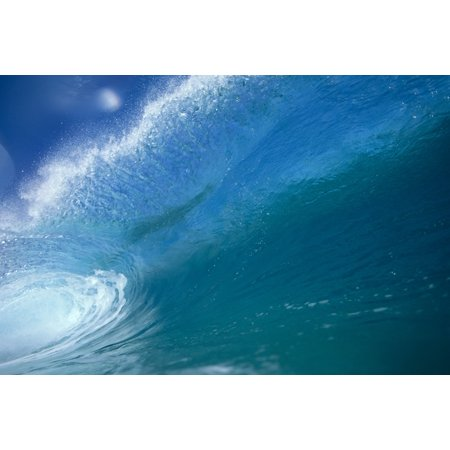 - Front View Of Aqua Wave Tube Blue Sky Glassy And Flat Canvas Art - Vince Cavataio  Design Pics (19 x 12)