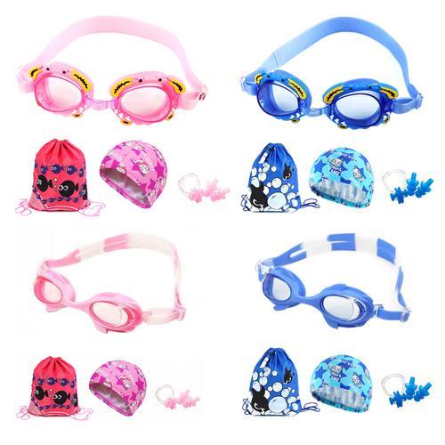 4 pcs set Children Kids Swimming Goggles Waterproof Anti-Fog HD Boys Girls Swimming Goggles Swimming Cap Set by