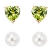 Ensemble de boucles d'oreilles en or 14 carats pour enfants avec émeraude et perles d'eau douce (4-5 mm) avec boîte-cadeau