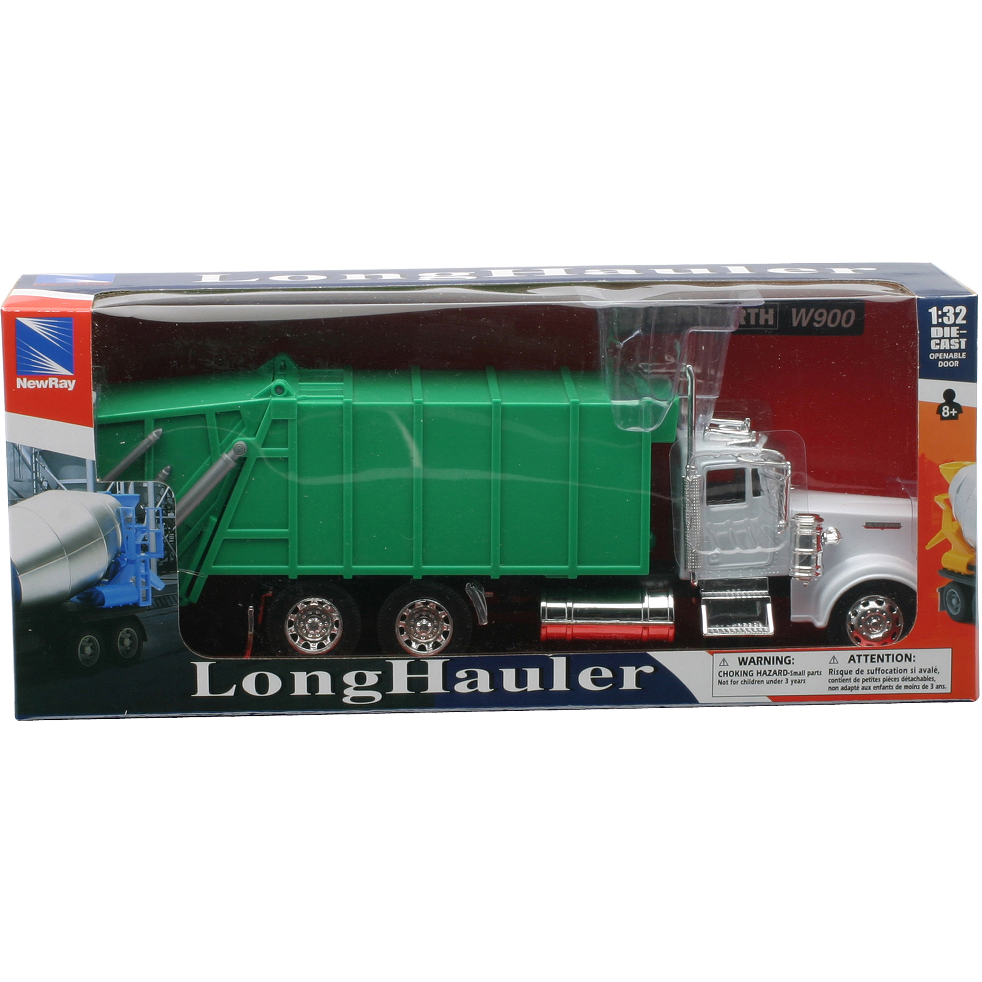 1:32 Scale Die-Cast Kenworth W900 Garbage Truck by New-ray Toys