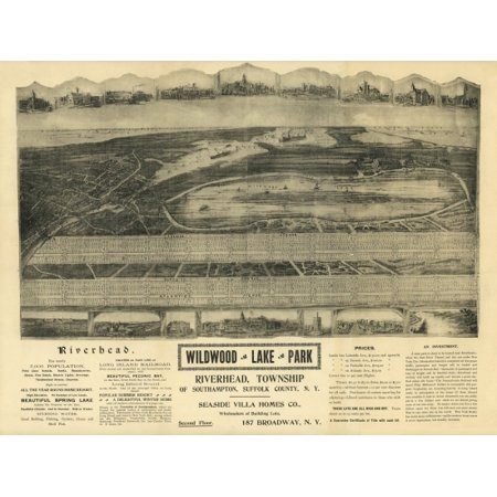 Old Map of Wildwood Lake Park New York 1903 Suffolk County Stretched Canvas -  (24 x 36) ()