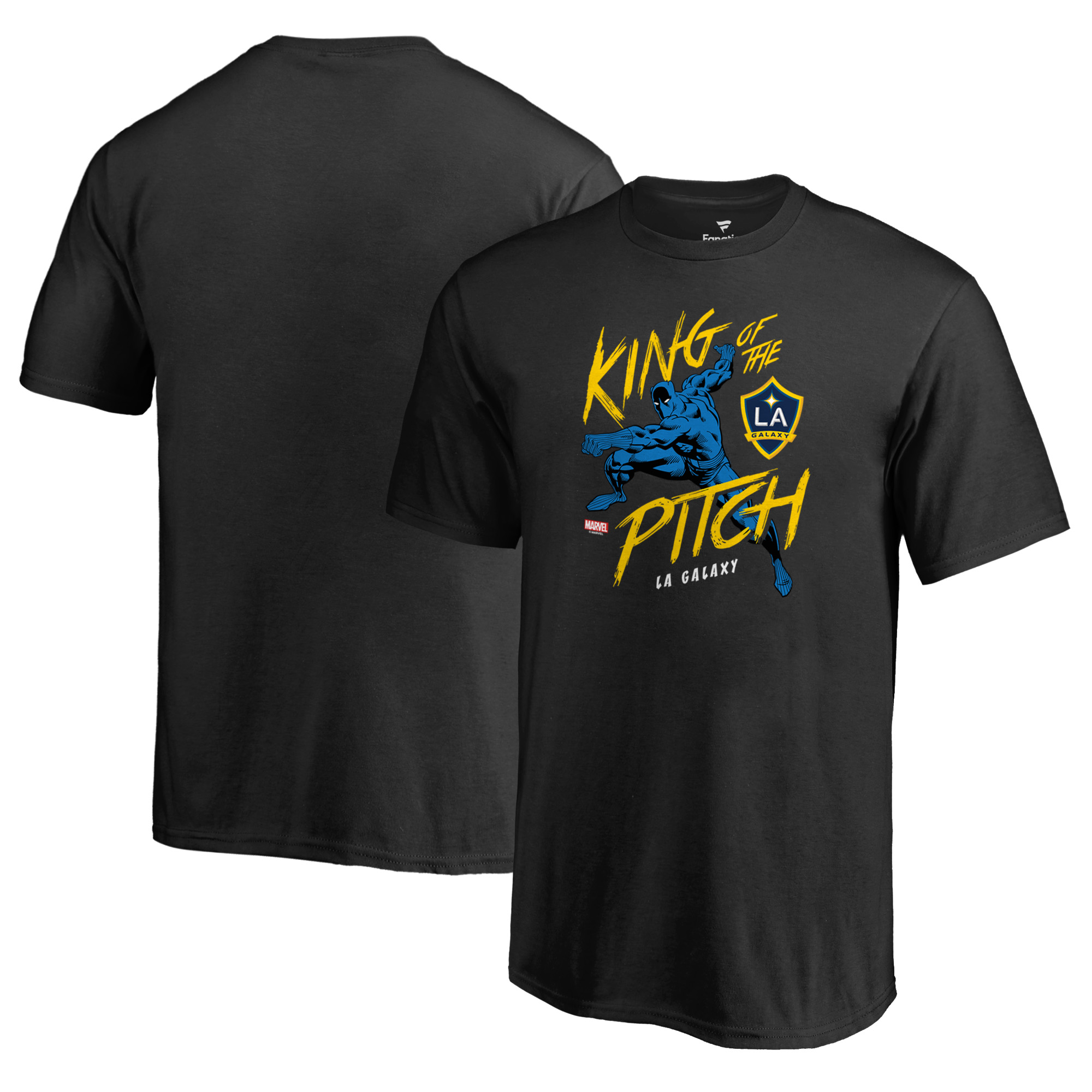 LA Galaxy Fanatics Branded Youth MLS Marvel Black Panther King of the Pitch T-Shirt - Black