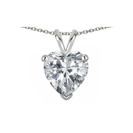 Star K Genuine White Topaz 8mm Heart Pendant Necklace
