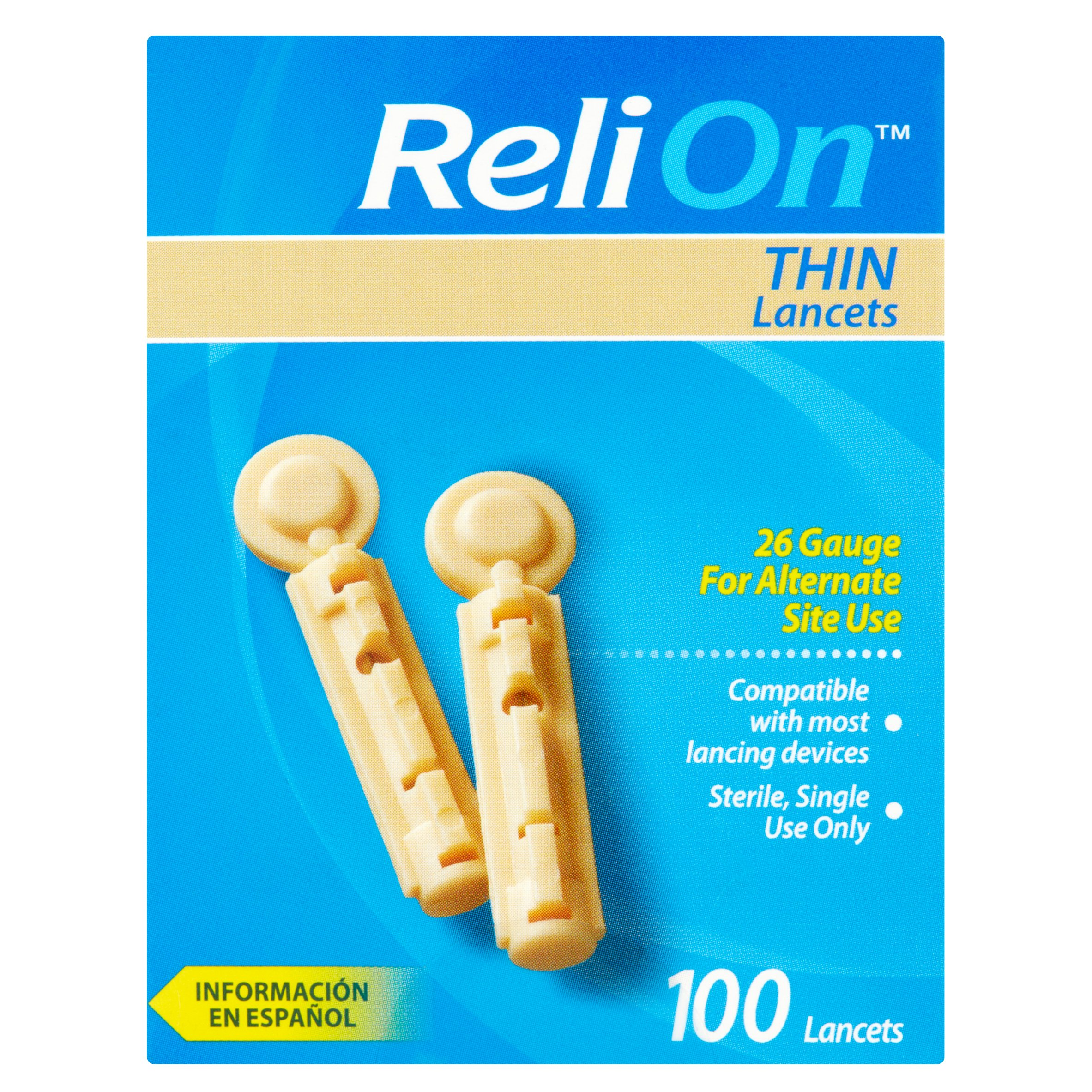 ReliOn 26 Gauge Thin Lancets, 100 Ct