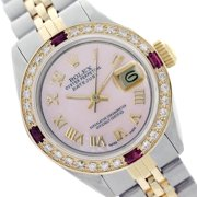 Pre-owned Rolex Ladies Datejust Pink MOP Roman Numeral Diamond Bezel Two Tone 26mm