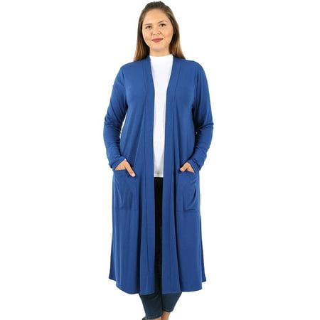 780b10c9d3e6a JED FASHION - JED FASHION Women s Plus Size Knee Length Solid Cardigan with  Pockets - Walmart.com