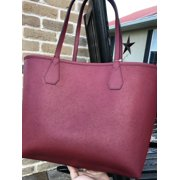 e49dcb00d3ea NWT Michael Kors Candy Large Reversible Tote Brown Khaki Signature Cherry  Red Image 12 of 12