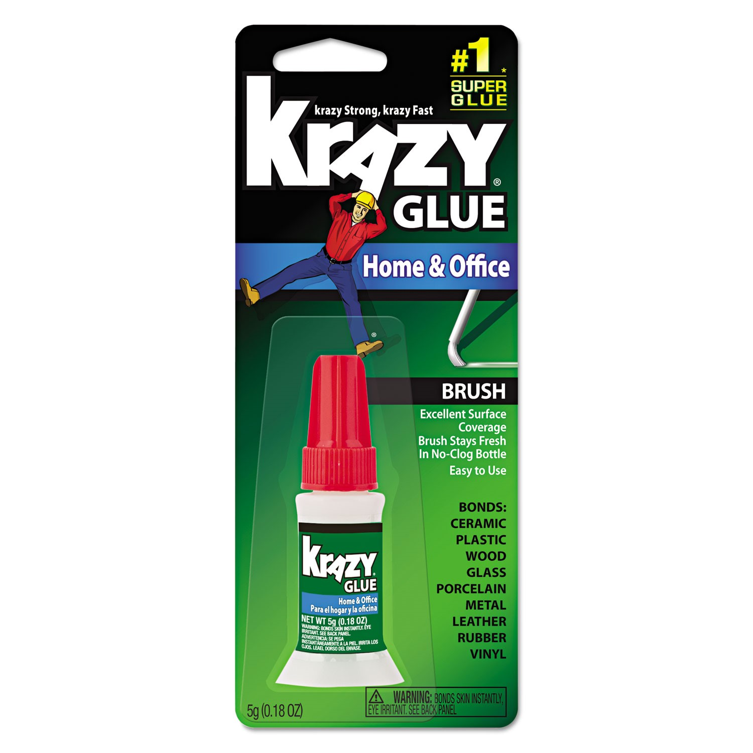 Krazy Glue KG94548R Instant Crazy Glue Home & Office Brush 0.18-Ounce