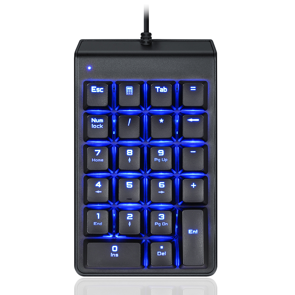 MOTOSPEED K22 Mechanical Numeric Keypad Red Switches Number Keyboard Portable Slim Blue Backlight USB Wired 22 Keys Finacially Dedicated for Laptop Desktop PC Notebook Black