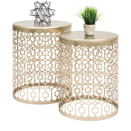 Best Choice Products Round Nesting Accent Tables, Geometric Detail Decorative Nightstands, Side, End Tables - Set of 2 -